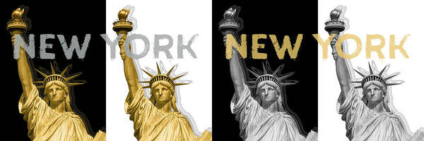 Wall Art - Digital Art - Pop Art Statue Of Liberty - New York New York - Panoramic Golden Silver by Melanie Viola