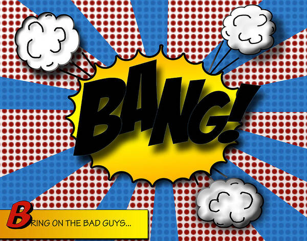 Strips Digital Art - Pop Bang by Suzanne Barber
