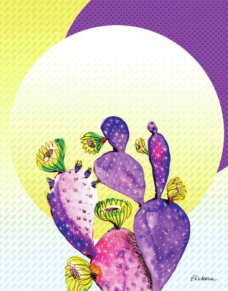 Painting - Pop Cacti - Purple Yellow by Ekaterina Chernova