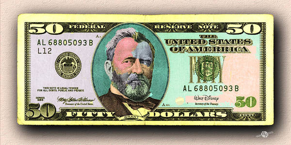 Painting - Crisp New 50 Dollar Bill Gold Green Pop Art  by Tony Rubino