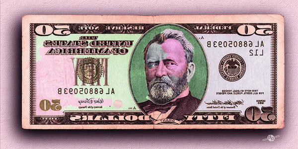 Painting - Crisp New 50 Dollar Bill Pink Orange Mirror Image by Tony Rubino