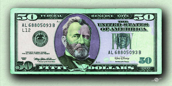 Painting - Crisp New 50 Dollar Bill Purple Green Pop Art  by Tony Rubino