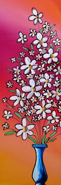 Pink Daisy Painting - Pop Flowers - 2 by Cindy Thornton