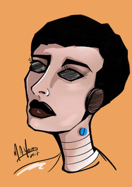 Digital Art - Pop Girl 5 Black by M A Young