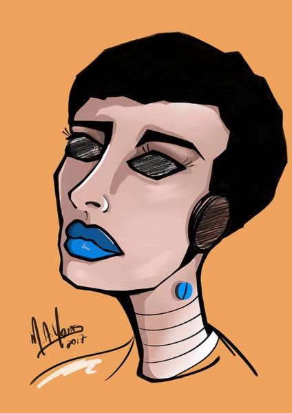Digital Art - Pop Girl 5 Blue by M A Young