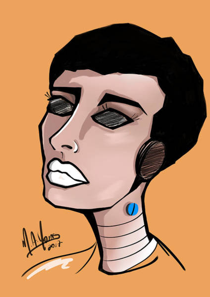 Digital Art - Pop Girl 5 White by M A Young