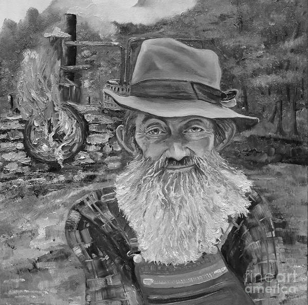 Painting - Popcorn Sutton - Black And White - Rocket Fuel by Jan Dappen