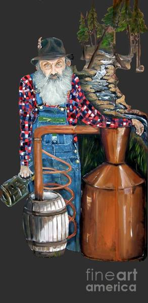 Lightening Painting - Popcorn Sutton Moonshiner -t-shirt Transparrent by Jan Dappen