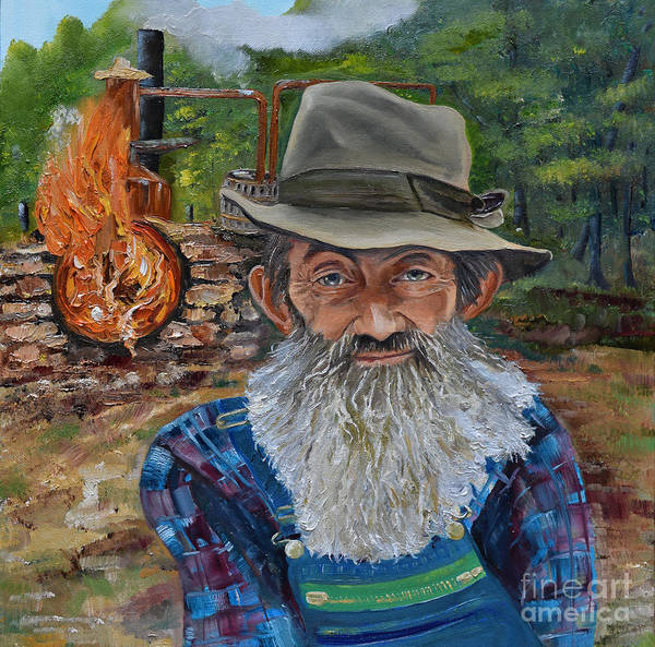 Painting - Popcorn Sutton - Rocket Fuel -white Whiskey by Jan Dappen