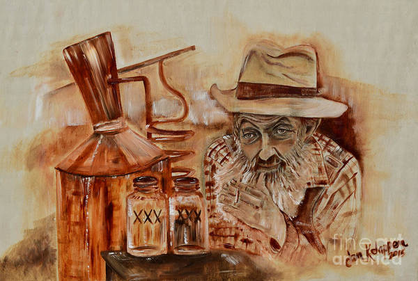 Painting - Popcorn Sutton - Waiting On Shine by Jan Dappen