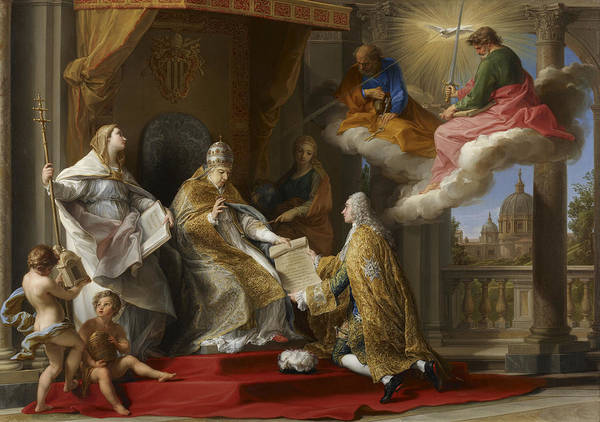 Comte Wall Art - Painting - Pope Benedict Xiv Presenting The Encyclical Ex Omnibus To The Comte De Stainville by Pompeo Girolamo Batoni