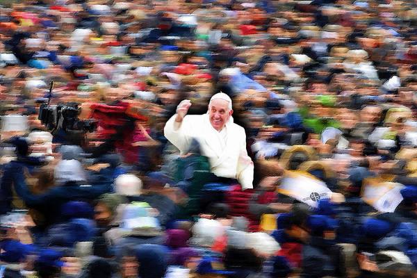 Painting - Pope Francis In Crowd Of Faithful Acrylic 1 by Tony Rubino