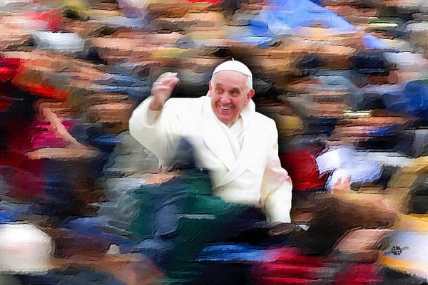Painting - Pope Francis In Crowd Of Faithful Acrylic 2 by Tony Rubino