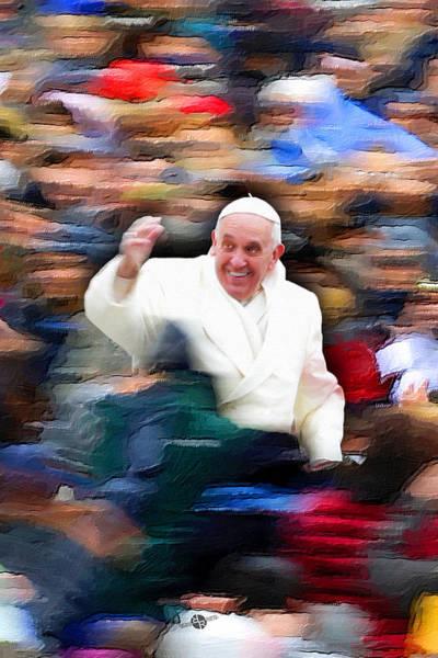 Painting - Pope Francis In Crowd Of Faithful Acrylic 4 by Tony Rubino