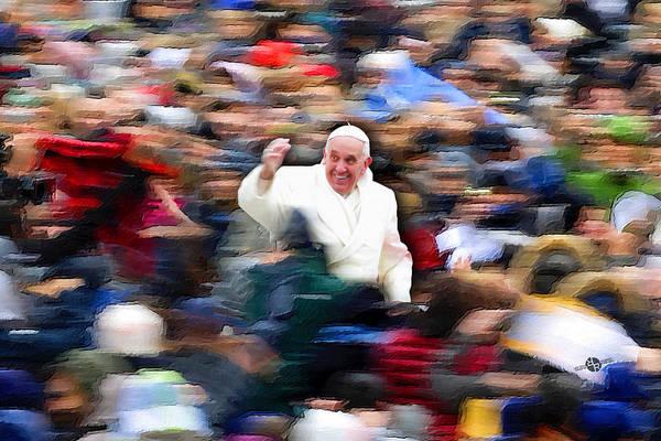 Painting - Pope Francis In Crowd Of Faithful Acrylic 5 by Tony Rubino
