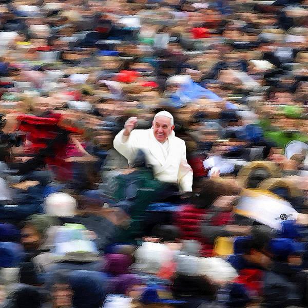 Painting - Pope Francis In Crowd Of Faithful Acrylic 6 by Tony Rubino