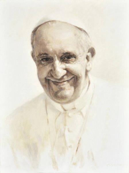 Holy Wall Art - Painting - Pope Francis, Joyful Father by Smith Catholic Art
