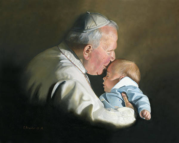 Wall Art - Painting - Pope John Paul II With Baby by Cecilia Brendel