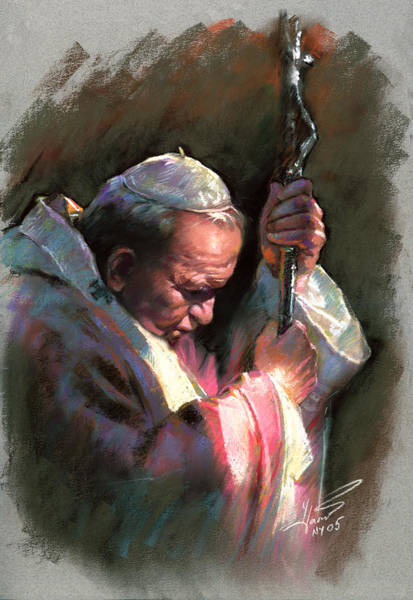 Fine Art Portrait Wall Art - Pastel - Pope John Paul II by Ylli Haruni