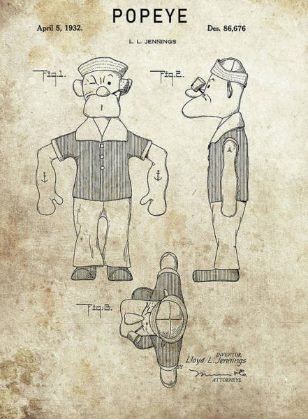 Wall Art - Drawing - Popeye Patent Design by Dan Sproul