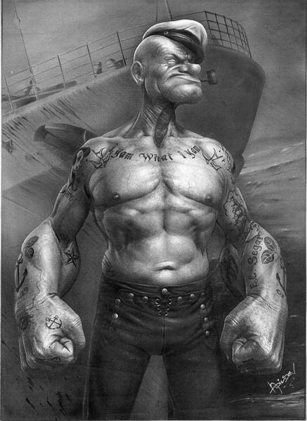 Print Drawing - Popeye Realistic by Adilson Silva