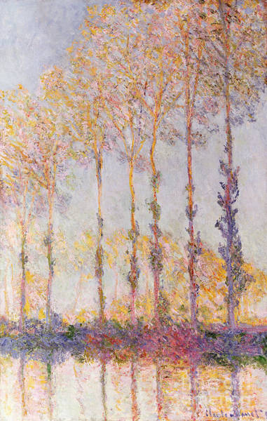 Riverbank Painting - Poplars On The Banks Of The Epte by Claude Monet