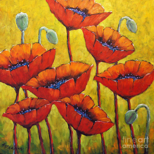 Floral Shower Curtain Painting - Poppies 01 by Richard T Pranke
