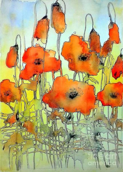 Hot Spring Wall Art - Painting - Poppies Abstraction by Suzann Sines