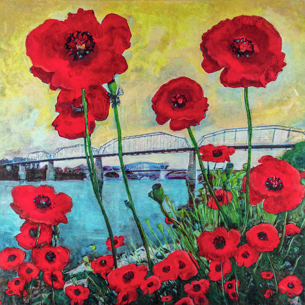 Mixed Media - Poppies Along The Riverfront by Steven Llorca