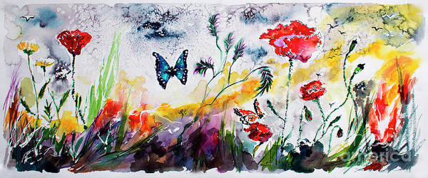 Painting - Poppies And Butterflies Whimsical French Garden by Ginette Callaway