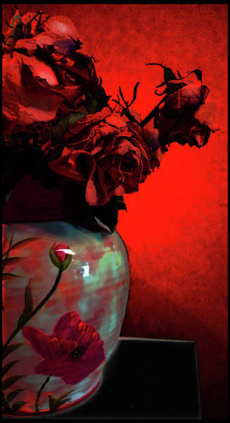 Art Print featuring the digital art Poppies And Roses by Teresa Epps