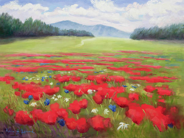 Wiese Wall Art - Painting - Poppies And Thunderclouds by Karin Leonard