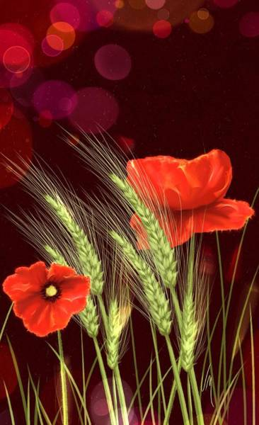 Grain Painting - Poppies And Wheat by Veronica Minozzi