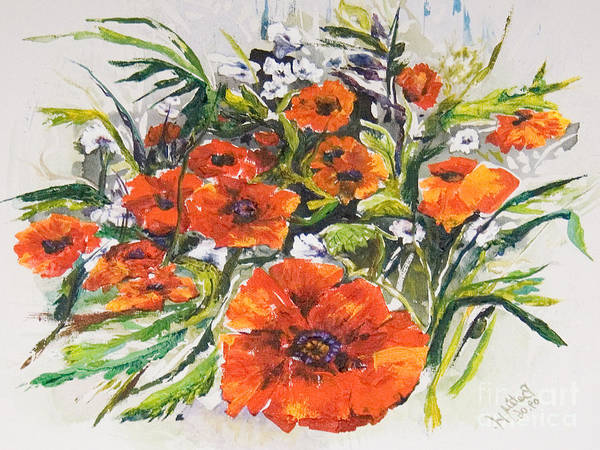 Wall Art - Painting - Poppies And Wildflowers by Elisabeta Hermann