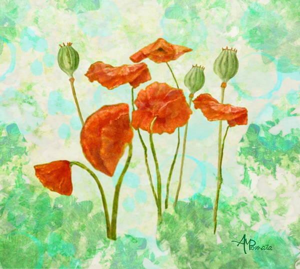 Red Poppy Mixed Media - Poppies by Angeles M Pomata