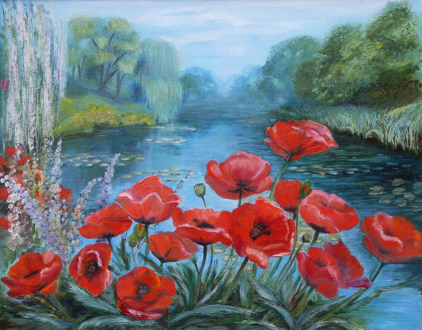 Painting - Poppies At Peaceful Pond by Elena Antakova