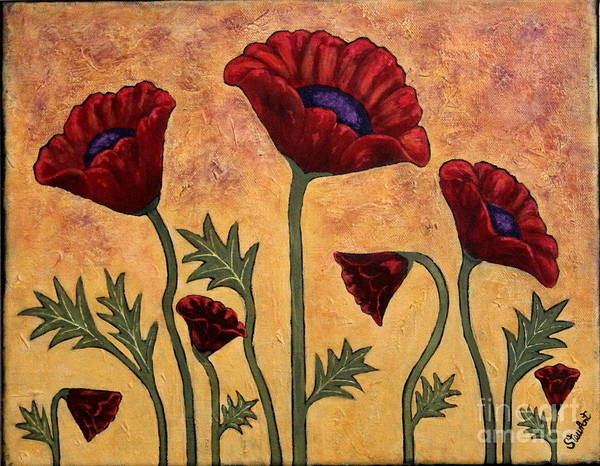 Mustard Field Painting - Poppies At Sunset by Linda Stewart