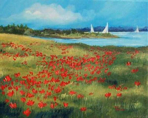 Flower Wall Art - Painting - Poppies By The Sea-sold by Torrie Smiley