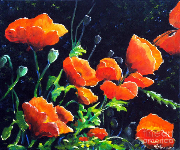 Floral Shower Curtain Painting - Poppies In The Light by Richard T Pranke