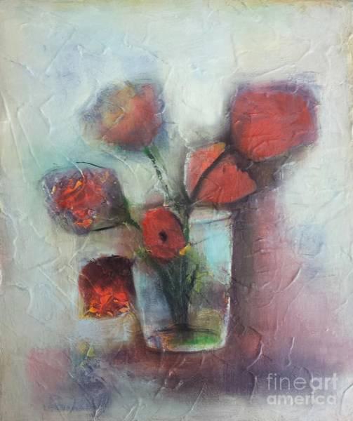 Red Poppy Mixed Media - Poppies In Vase by Vesna Antic