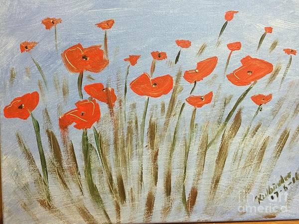 Wall Art - Painting - Poppies  by Kimmi Sandhu