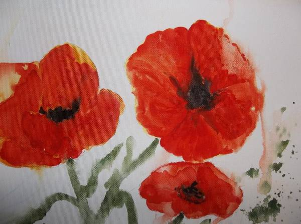 Painting - Poppies On Linen by Audrey Bunchkowski