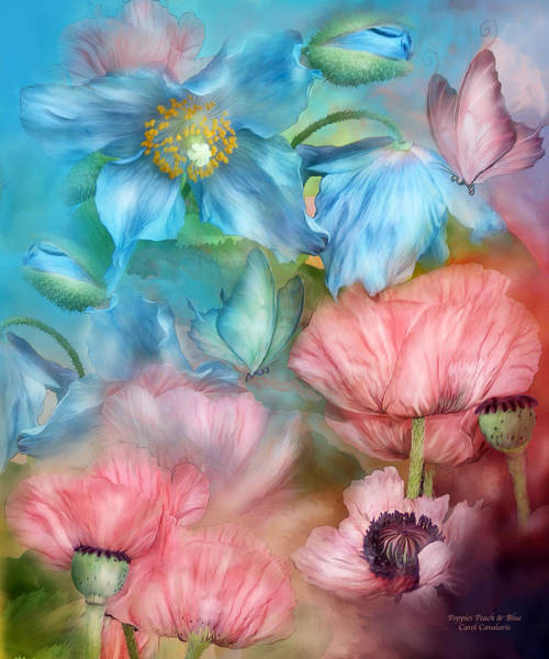Mixed Media - Poppies Peach And Blue by Carol Cavalaris