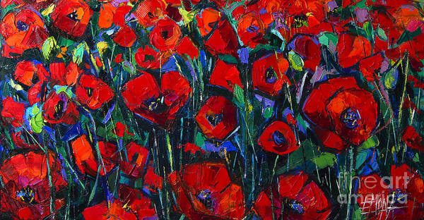 Wall Art - Painting - Poppies Symphony Modern Impressionist Palette Knife Oil Painting by Mona Edulesco