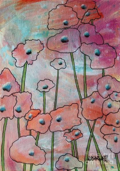 Dye Painting - Poppies1 by Karla Gerard