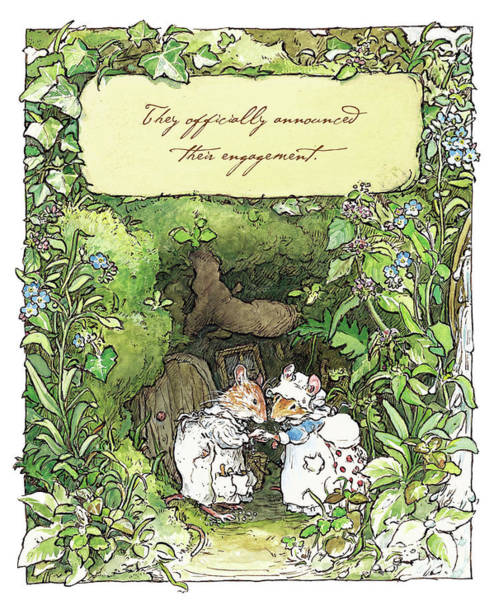 Wall Art - Drawing - Poppy And Dusty Get Engaged by Brambly Hedge