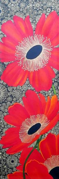 Wall Art - Painting - Poppy Bling by Carol Sabo