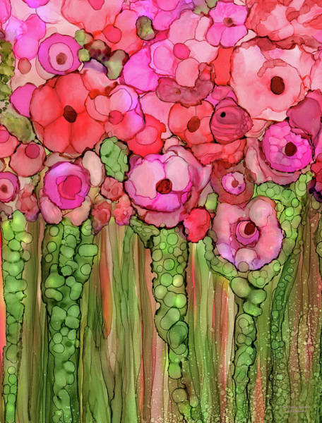 Mixed Media - Poppy Bloomies 1 - Pink by Carol Cavalaris