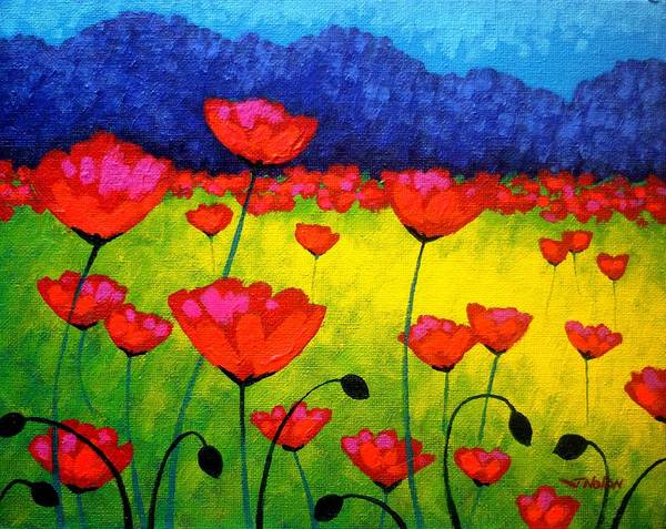 Homage Wall Art - Painting - Poppy Cluster by John  Nolan