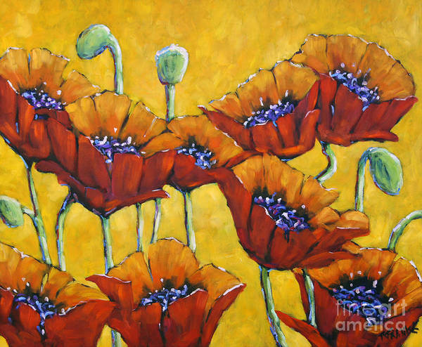 Floral Shower Curtain Painting - Poppy Craze By Prankearts by Richard T Pranke